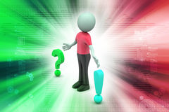 Question mark with exclamation mark with man Stock Photography