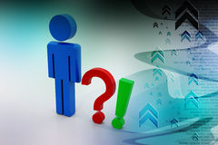 Question mark  and exclamation mark with man Stock Photo