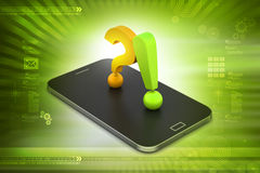 Question mark with exclamation mark in a smart phone Royalty Free Stock Image