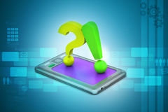 Question mark with exclamation mark with smart phone Stock Images