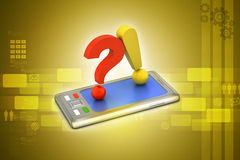 Question mark with exclamation mark with smart phone Stock Photo