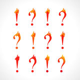 Question mark and exclamation point fire sign. Set of hot asking and answer icons. Help flame FAQ symbol. Vector discussion or support logo Stock Images