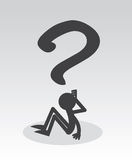 Question FIgure. Question mark figure sitting thinking Royalty Free Stock Photos