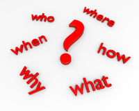 Question mark with five W's stock photography