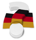 Question mark and flag of germany. 3d illustration Royalty Free Stock Photos