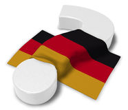 Question mark and flag of germany. 3d illustration Royalty Free Stock Images