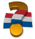 Question mark and flag of the netherlands Royalty Free Stock Photography