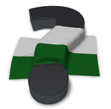Question mark and flag of saxony. 3d illustration Royalty Free Stock Photo