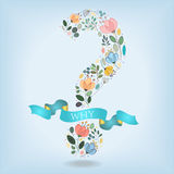 Question Mark with Flowers, Banner and Text stock image