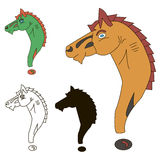 The question mark in the form of a horse. 4 elements in different color Stock Images