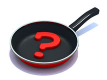 Question mark on the frying pan Stock Photo