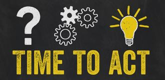 Question Mark, Gears, Light Bulb Concept - Time to act royalty free illustration