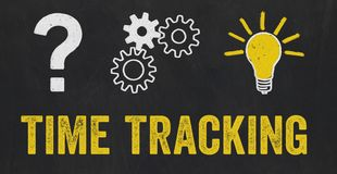 Question Mark, Gears, Light Bulb Concept - Time tracking stock illustration