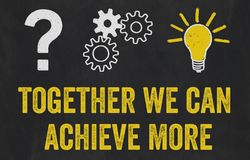 Question Mark, Gears, Light Bulb Concept - Together we can achie royalty free illustration
