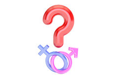 Question mark with gender female and male symbols , 3D rendering Stock Image