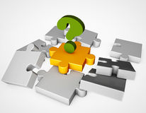 Question mark on the gold puzzle  Royalty Free Stock Photo