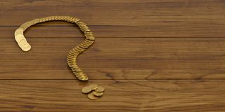 A question mark of golden coins on board 3D illustration. royalty free illustration
