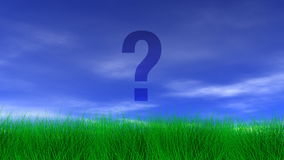 Question Mark, Green Grass & Blue Sky Stock Images