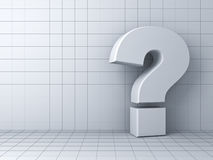 Question mark on grid white background with shadow Stock Images