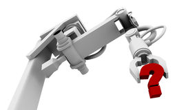 Question Mark in Grip of Robot Arm. High resolution raytraced 3D render of red question mark in the grip of a robot's claw stock illustration