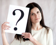 Question mark in hands of the business woman Royalty Free Stock Photography