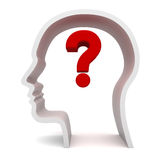 Question Mark In Head. Red question mark in human head Stock Photo