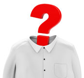Question mark head. 3d generated picture of a white shirt and a question mark instead a human head Royalty Free Stock Photos