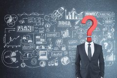 Confusion and finance concept. Question mark headed businessman standing on concrete background with creative business sketch. Confusion and finance concept stock images