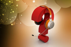 Question mark in headphones. on-line support concept Royalty Free Stock Photo
