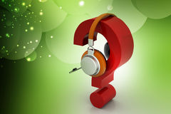 Question mark in headphones. on-line support concept Stock Photos