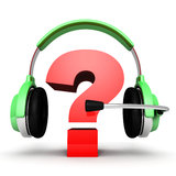 Question mark in headphones online support concept Royalty Free Stock Photography