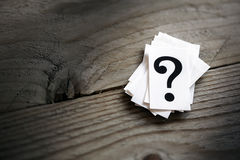 Question mark. Heap on table concept for confusion, question or solution Royalty Free Stock Photography