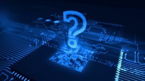 Question mark hologram on cyber background. Question mark sign hologram over working cpu in background. Internet searching, digital knowledge, FAQ and computer