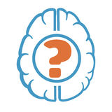 Question mark in human brain Stock Photos