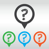 question mark icon ask sign, icon map pin Royalty Free Stock Images