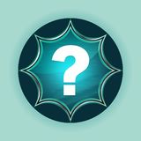 Question mark icon magical glassy sunburst blue button sky blue background vector illustration