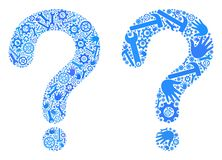 Question Mark Icons de collage des outils de réparation illustration stock