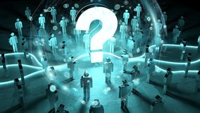 Question mark illuminating a group of people 3D rendering. Question mark and dots connections illuminating a group of people 3D rendering Royalty Free Stock Images