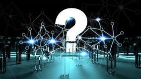 Question mark illuminating a group of people 3D rendering. Question mark and dots connections illuminating a group of people 3D rendering Stock Image