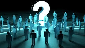 Question mark illuminating a group of people 3D rendering. Question mark illuminating a group of people on dark background 3D rendering Stock Images