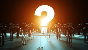 Question mark illuminating a group of people 3D rendering. Question mark illuminating a group of people on dark background 3D rendering Royalty Free Stock Image