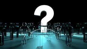 Question mark illuminating a group of people 3D rendering. Question mark illuminating a group of people on dark background 3D rendering Royalty Free Stock Photo