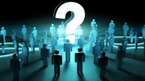 Question mark illuminating a group of people 3D rendering. Question mark illuminating a group of people on dark background 3D rendering Stock Photo