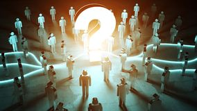 Question mark illuminating a group of people 3D rendering. Question mark illuminating a group of people on dark background 3D rendering Stock Photos