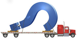 Question Mark. Illustration of a flatbed truck carrying a question mark Stock Images