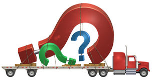Question Mark. Illustration of a flatbed truck carrying question marks Stock Photography