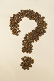 Question mark image made up of coffee beans. Royalty Free Stock Image