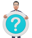 Question Mark Indicates Business Person And Board 3d Rendering. Question Mark Meaning Not Sure And Uncertain 3d Rendering Royalty Free Stock Image