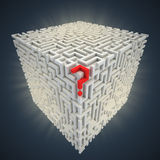 Question mark inside cubical maze Royalty Free Stock Photo