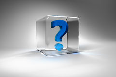 Question mark inside a glass cube. Blue question mark inside a glass cube on a white background Stock Image